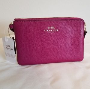 Coach Corner Zip Wristlet Crossgrain Leather